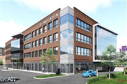 Artist rendering of the new office building being proposed at 1509 Smallman St., which features 105,000 square feet of space, including a first-floor high-bay area designed for research and development, and 150 surface parking spaces.