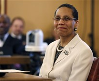 In this April 30, 2013, file photo, Justice Sheila Abdus-Salaam looks on as members of the state Senate Judiciary Committee vote unanimously to advance her nomination to fill a vacancy on the Court of Appeals at the Capitol in Albany.