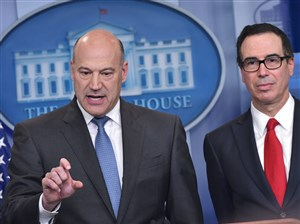 Chief Economic Advisor Gary Cohn, left, and Treasury Secretary Steven Mnuchin speak in the Brady Briefing Room on President Donald Trump's tax reform plans on April 26, 2017 in Washington, DC.