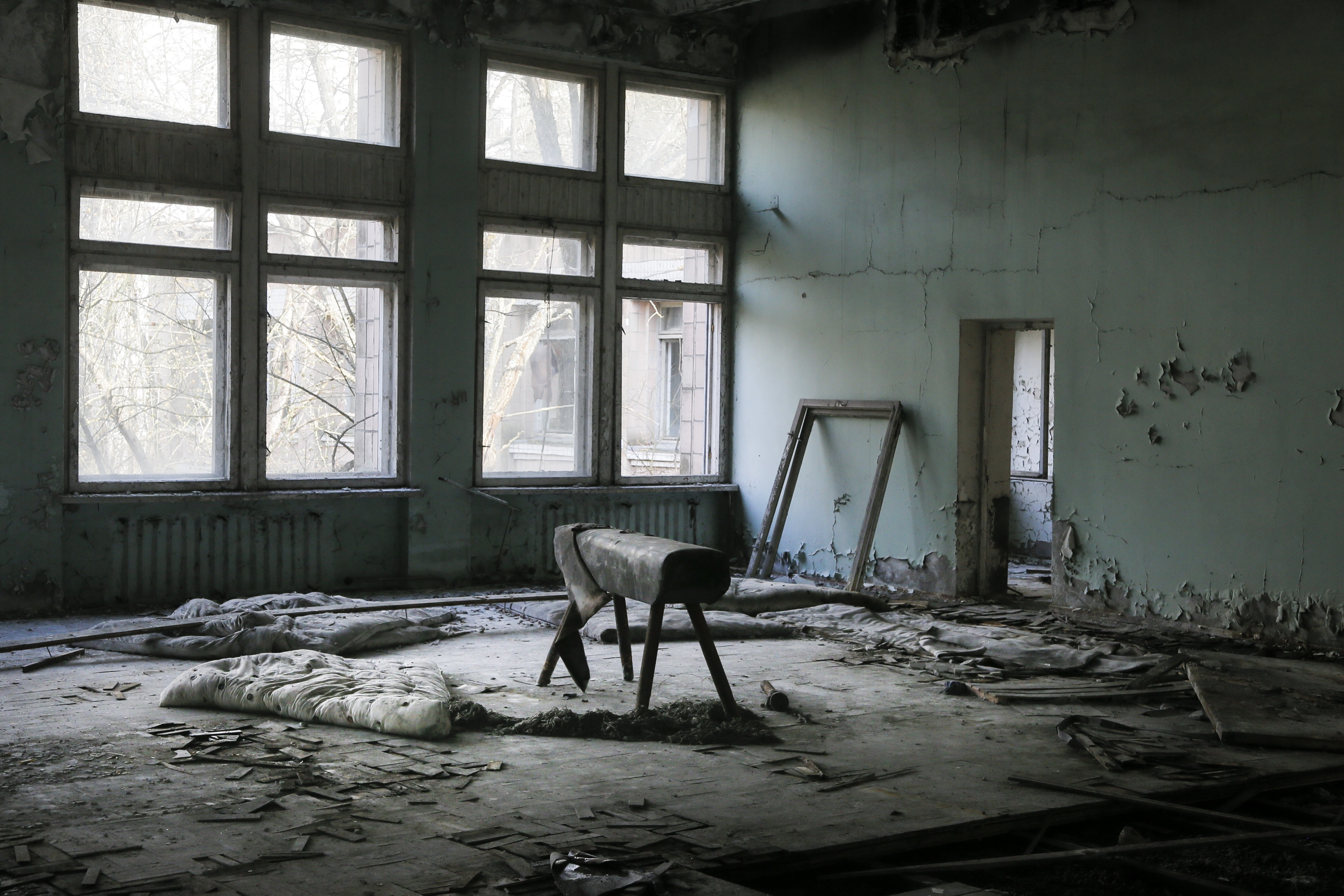 Chernobyl Aftermath This photo taken Wednesday, April 5, 2017, shows a gymnasium in a school in the deserted town of Pripyat, some 3 kilometers (1.86 miles) from the Chernobyl nuclear power plant Ukraine. Once home to some 50,000 people whose lives were connected to the Chernobyl nuclear power plant, Pripyat was hastily evacuated one day after a reactor at the plant 3 kilometers (2 miles away) exploded on April 26, 1986. The explosion and the subsequent fire spewed a radioactive plume over much of northern Europe. (AP Photo/Efrem Lukatsky)