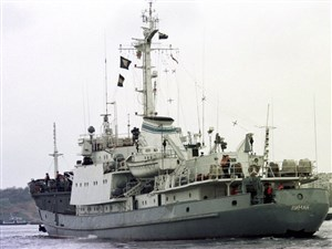 In this file photo taken on Friday, April 2, 1999, Russian Navy reconnaissance frigate Liman leaves from the Black Sea fleet's base at Sevastopol, Crimean peninsula. Russia's Defense Ministry reported Thursday April 27, 2017, that the Liman had collided with another ship about 25 miles northwest of the Bosphorus Strait, and sank in the Black Sea.