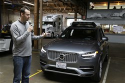 In this Dec. 13, 2016, file photo, Anthony Levandowski, then head of Uber's self-driving program, speaks about its driverless car in San Francisco.