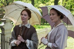"Cynthia Nixon, left, as Emily Dickinson gives a soulful performance that is buttressed by Jennifer Ehle as her sister Lavinia in ""A Quiet Passion."""