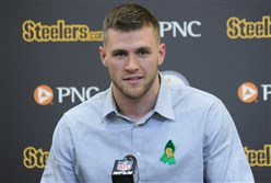 Steelers first round pick T.J. Watt, a linebacker from the University of Wisconsin talks to the media at the UPMC Rooney Sports Complex on Friday.
