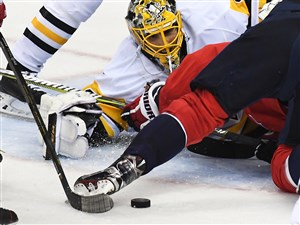 Pittsburgh Penguins Marc-Andre Fleury makes save on the Capitals Jay Beagle late in the third period Thursday April 27, 2017 at the Verizon Center Washington DC.