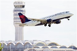 "A Delta Air Lines jet takes off from Ronald Reagan Washington National Airport in Arlington, Va. Delta began the ""basic economy"" trend to compete with low-cost Spirit Airlines."
