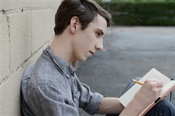 "Peter Joseph Kelly Stamerra portrays Charlie in Prime Stage Theatre's production of ""The Perks of Being a Wallflower."""