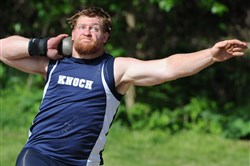 Knoch's Jordan Geist set a meet record in the boys shot put Friday at the Baldwin Track Invitational at Baldwin High School.