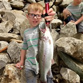 Dane Baker, 5, of Marianna, Washington County, is already a veteran angler. But the 18-inch rainbow he took May 1 on Ten Mile Creek in Greene County is his among his best catches.