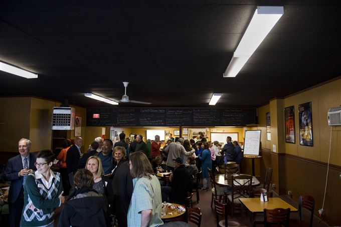 People enjoy various beers and each other's company on Thursday, May 4, 2017 at Beaver Brewing in Beaver Falls.