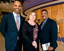 Fund for Advancement of Minorities Through Education (FAME) CEO Darryl Wiley, left, event chair Ann Hoover, and board chair Vincent Johnson.
