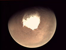 In a photos provided by the European Space Agency, a view of Mars on Oct. 16, 2016, captured from the camera aboard the European Space Agency's Mars Express orbiter. Another mission, ExoMars, will reach the planet on Oct. 19. The joint mission of the European and Russian space agencies consists of an orbiter and a lander looking for methane and testing landing technologies.