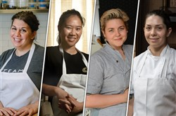 From left, Jessica George, executive sous chef at Legume in Oakland; Lily Tran, executive chef at Soba in Shadyside; Csilla Thackray, executive chef at The Vandal in Lawrenceville; and Bethany Zozula, executive chef at Whitfield at the Ace Hotel in East Liberty.