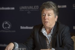 Penn State athletic director Sandy Barbour speaks Wednesday in Downtown Pittsburgh.
