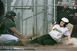 WINNING MOMENT: Belle Vernon's Lexie Church slides safely into home to score the winning run in the 12th inning Tuesday against Yough as the Leopards, ranked No. 2 in WPIAL Class 4A, knocked off No. 1-ranked Yough, 5-4.