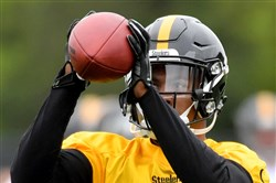 Steelers cornerback Cameron Sutton pulls in a pass during rookie minicamp May 12.