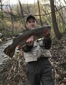 Lucas Schmondiuk, 14, of North Huntingdon nailed this big rainbow on the opening day of trout season at tiny Long Run, a trout-stocked stream in White Oak. The fish was 22 inches long and weighed 4 1/2 pounds.