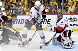Senators goaltender Craig Anderson makes a save on Olli Maatta in the third period of Game 1 of the Eastern Conference final.