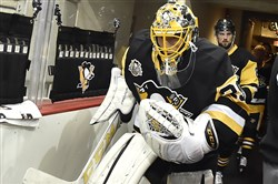 Marc-Andre Fleury leads the Penguins onto the ice before Game 2 of the Eastern Conference final against Ottawa.