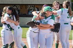 South Fayette celebrates after beating Knoch, 6-4, in nine innings  in the first round of WPIAL Class 4A softball playoffs at North Allegheny.