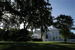 "The White House is seen May 16, 2017 in Washington, DC. President Donald Trump tweeted that morning saying he has the ""absolute right"" to share information with Russia."