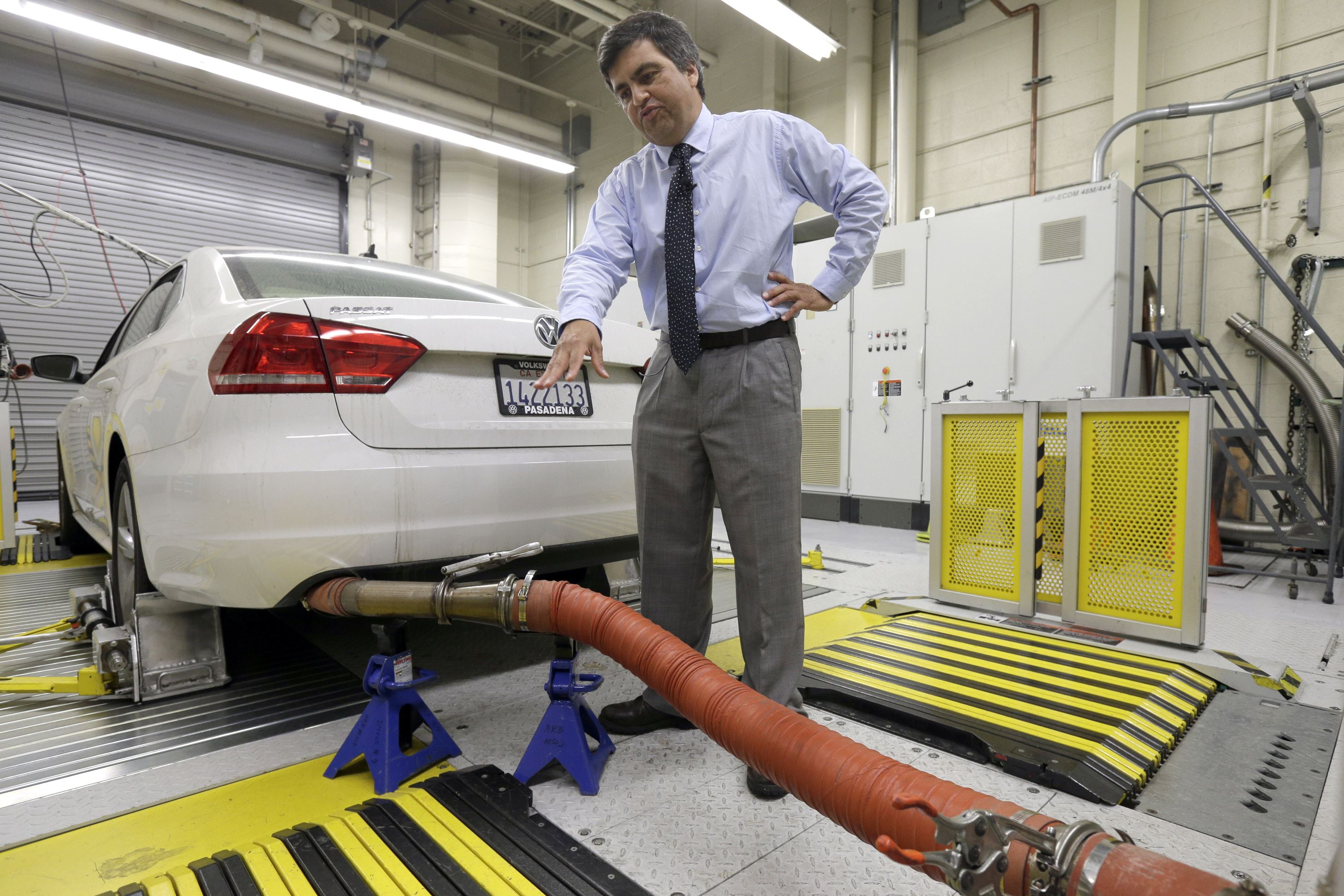 Diesel Deaths A 2013 Volkswagen Passat with a diesel engine is evaluated at the emissions test lab in El Monte, Calif in 2015. Real world pollution from diesel trucks, buses and cars globally is more than 50 percent higher than what government lab testing says it should be. And that translates to an extra 38,000 deaths worldwide from soot and smog, a new study say.