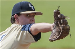 Franklin Regional's Alex Frey winds up for a pitch Wednesday,  at Fox Chapel Area High School in Fox Chapel.