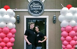 Steve and Alexia Krum on the grand opening day of their shop, Krum's Creamery, in Elizabeth Township in March.