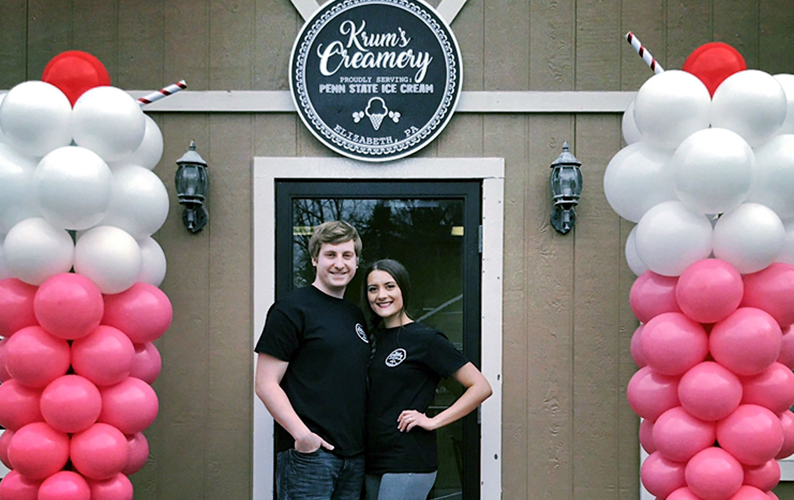 krums4-3 Steve and Alexia Krum on the grand opening day of their shop, Krum's Creamery, in Elizabeth Township in March.