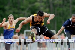 Ayden Owens of North Allegheny won the Boys 110 meter hurdles in the WPIAL track and field championships at Baldwin High School on Thursday.