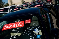 Cars that were traded in during the Takata recall in a car lot in West Palm Beach, Fla., on Jan. 25.