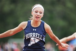 Nikki Scherer of Burrell won the Girls 100 meter dash in the WPIAL track and field championships at Baldwin High School on Thursday. Scherer swept gold in all of the girls 2A spring events.