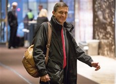 In this Jan. 3, 2017, file photo, Michael Flynn, then President-elect Donald Trump's nominee for National Security Adviser arrives at Trump Tower in New York.