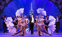 "Nick Spangler, center, as Henri Baurel in the touring company of ""An American in Paris."""