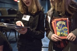 "Heather Dressel, 14, left, and Luca Macri, 14, volunteer as ushers before the May 4 performance of ""Peter and the Starcatcher"" at Little Lake Theater in North Strabane."