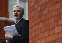 Julian Assange on the balcony of the Ecuadorean Embassy in central London in 2016.