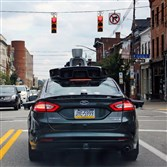 A self-driving Uber car in Pittsburgh last year