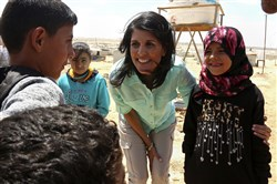 U.S. Ambassador to the United Nations Nikki Haley speaks with Syrian refugee children during a visit to the Zaatari Refugee Camp, Jordan, on Sunday.