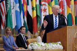 President Donald Trump speaks during the Arabic Islamic American Summit at the King Abdulaziz Conference Center in Riyadh, Saudi Arabia, on Sunday.
