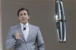 In this April 12 file photo, Ford Motor Co. President and CEO Mark Fields speaks during a media preview of the 2018 Lincoln Navigator at the New York International Auto Show in New York. Ford is replacing its CEO amid questions about its current performance and future strategy, a person familiar with the situation has said.