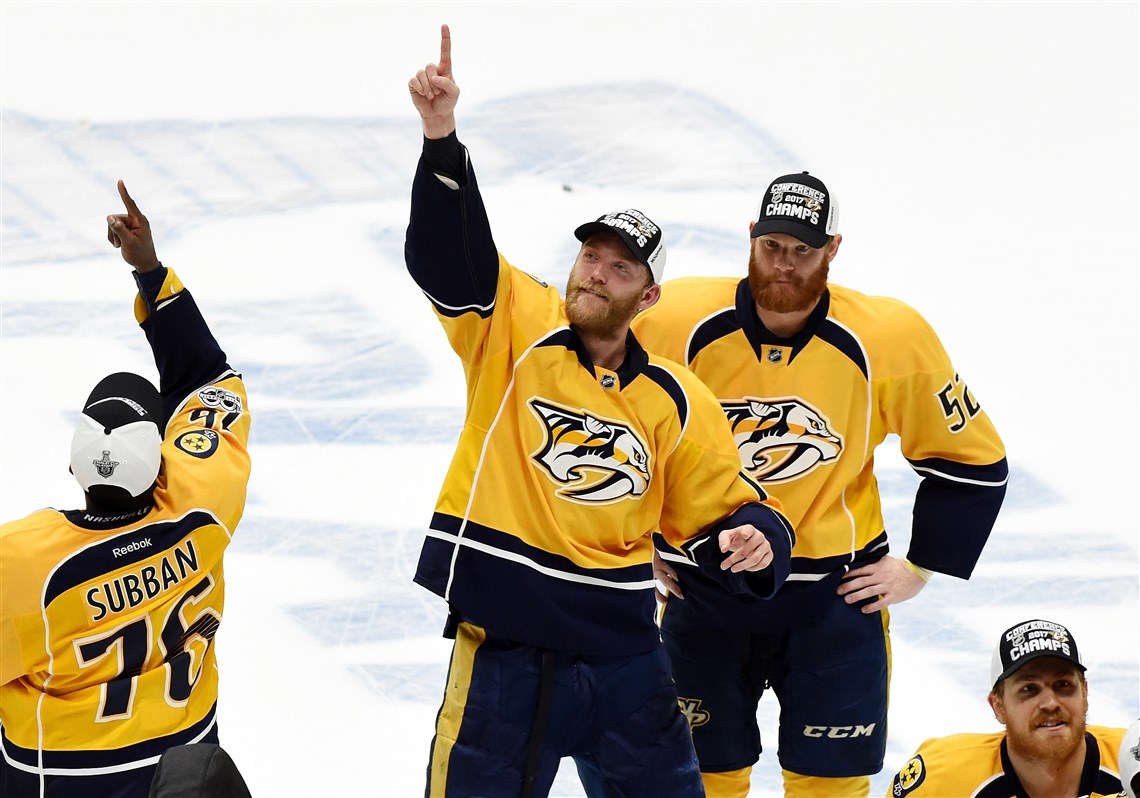 The Nashville Predators Celebrate After Defeating The Anaheim Ducks In Game  Of The Western Conference