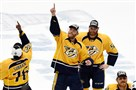 The Nashville Predators celebrate after defeating the Anaheim Ducks in Game 6 of the Western Conference final Thursday at Bridgestone Arena in Nashville, Tenn.