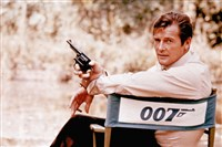 British actor Roger Moore, playing the title role of secret service agent 007, James Bond, is shown on location in England in 1972. Moore, played Bond in seven films, more than any other actor.
