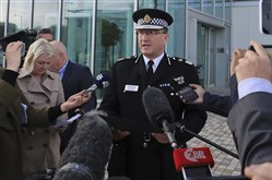 Greater Manchester Police Chief Constable Ian Hopkins speaks to the media in Manchester Tuesday.