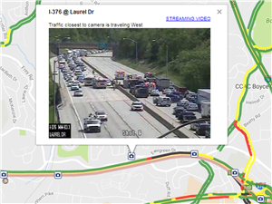 A screenshot taken from PennDOT's 511pa.com website shows an accident on Interstate 376 East on Tuesday.