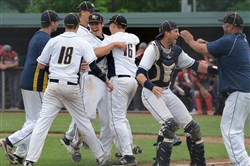 Mars celebrates its 4-1 win against West Allegheny in the WPIAL Class 5A baseball semifinals Wednesday at Boyce Mayview Park in Upper St. Clair.