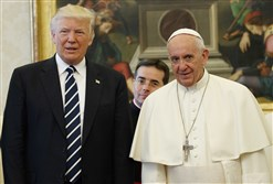 President Donald Trump meets with Pope Francis Wednesday at the Vatican.