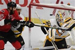 Pittsburgh Penguins goalie Matt Murray makes save on Ottawa Zack Smith in Game 6.