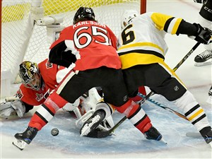 Penguins defenseman Trevor Daley looks to score on Senators goaltender Craig Anderson in the second period of Game 6 of the Eastern Conference final. The Senators challenged the goal and it was overturned.