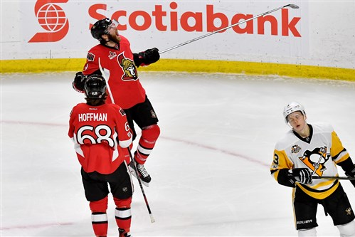 Ottawa Senators' Bobby Ryan celebrates a goal against the Penguins in the second period of Game 6 of the Eastern Conference final Tuesday at Canadian Tire Centre in Ottawa.